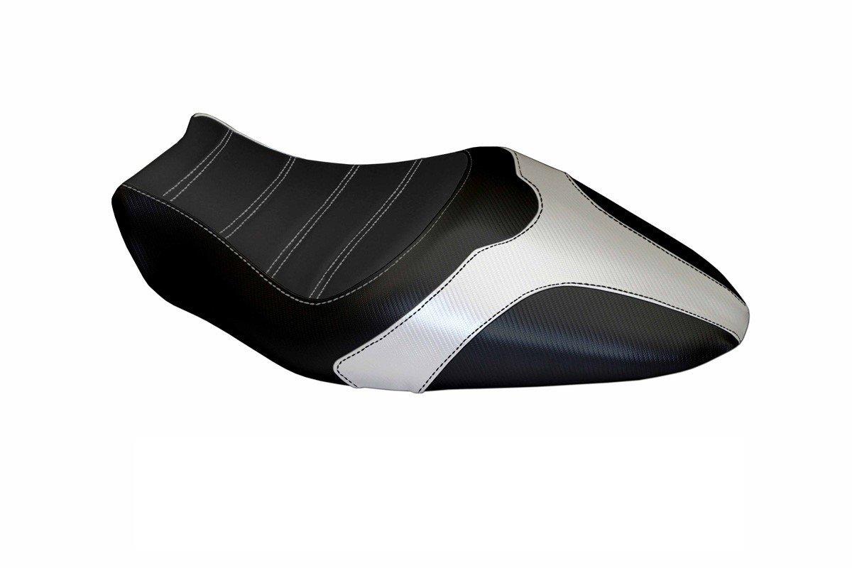 Passend für Ducati Monster 821 / 1200 2014-16 Sitzbank Carbon look Sitzbezug Wei
