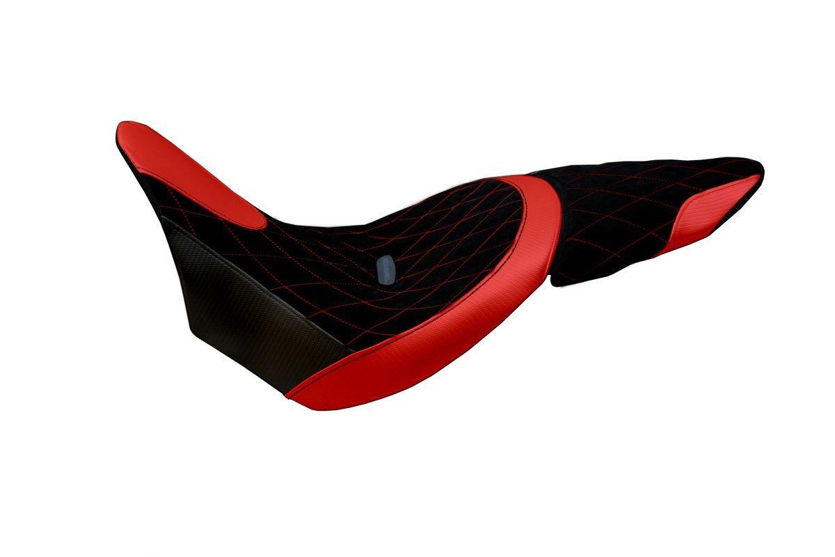 Passend für Ducati XDiavel Sitzbank Carbon look Sitzbezug Sozius Rot