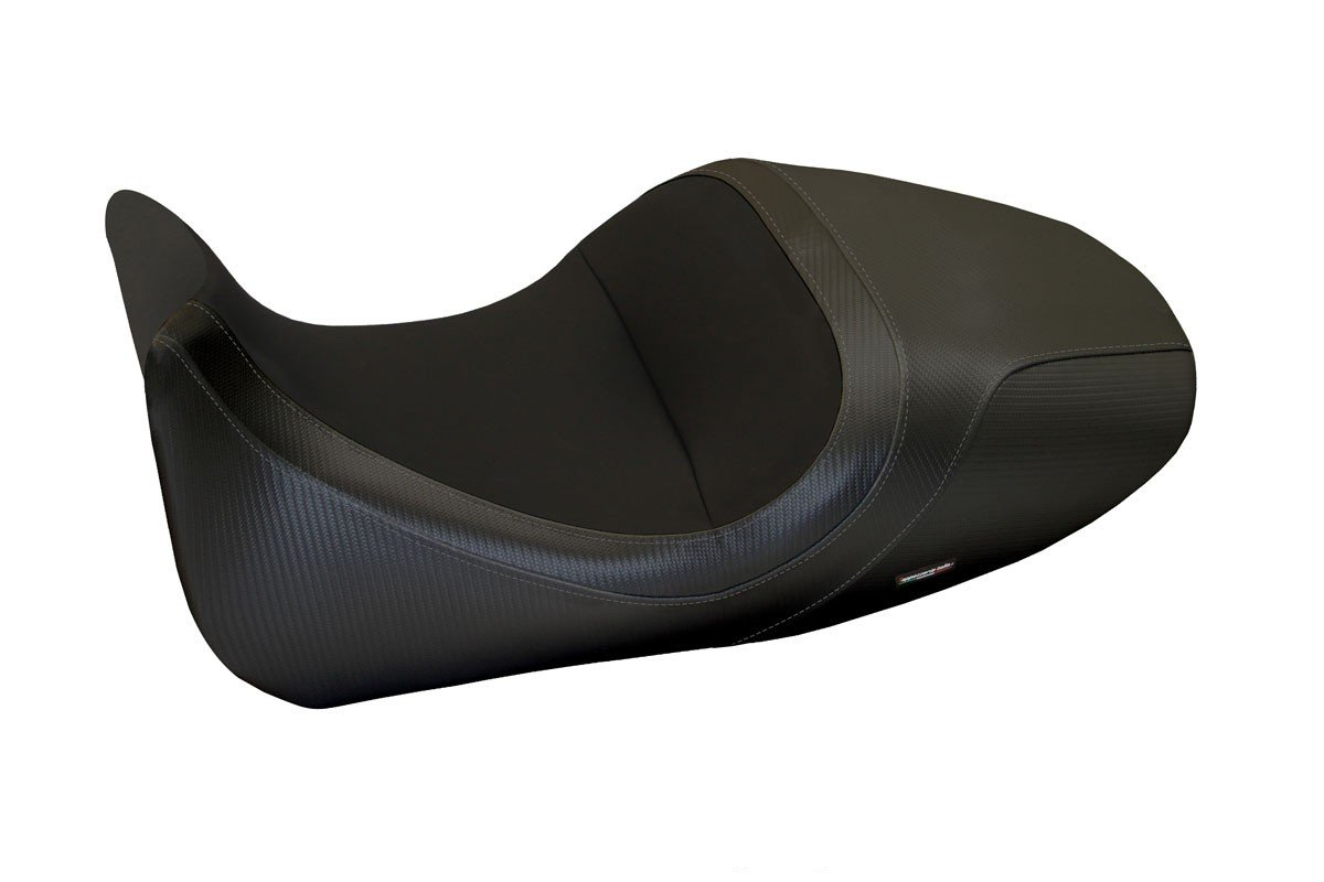 Passend für Ducati Diavel 2014-2017 Sitzbank Carbon look Sitzbezug Sozius Grau