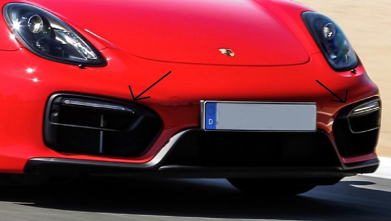 Passend für Porsche 981 GTS Boxster Cayman Echt Carbon Kühler -Stoßstange LED Cover